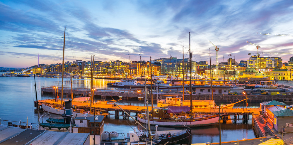 A sunset at the Oslo port in Norway
