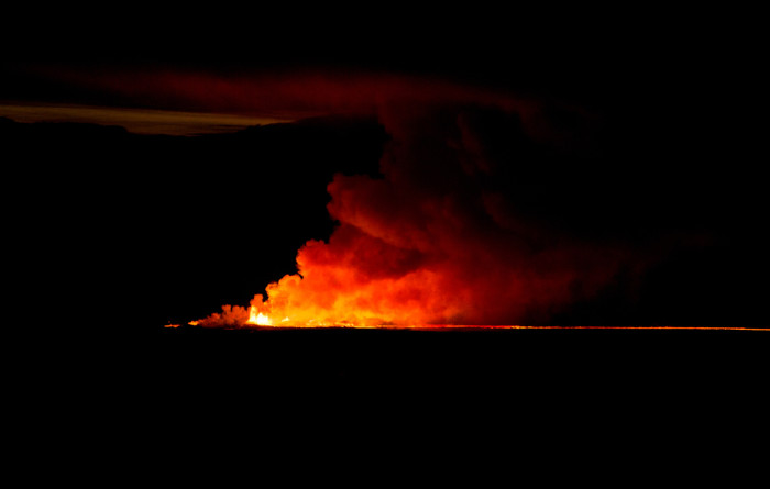 Bardarbunga eruption at night in Iceland