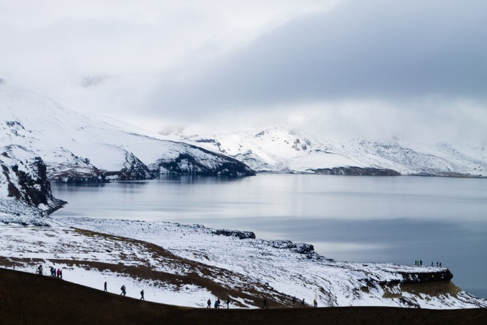 A view on Öskjuvatn lake in winter scenery located in Askja volcano in Iceland