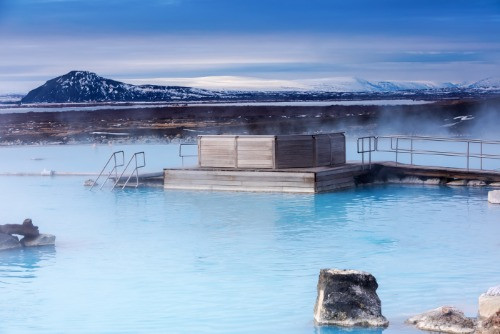 A winter view on Myvatn Nature Baths which is one of the best hot spring in Iceland