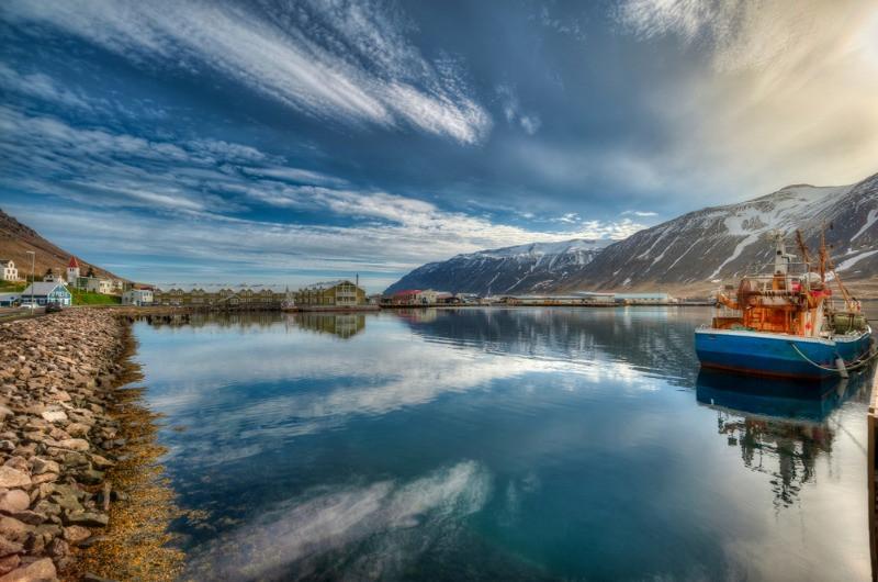 A view on the Siglufjordur fjord in the Trollaskagi Peninsula