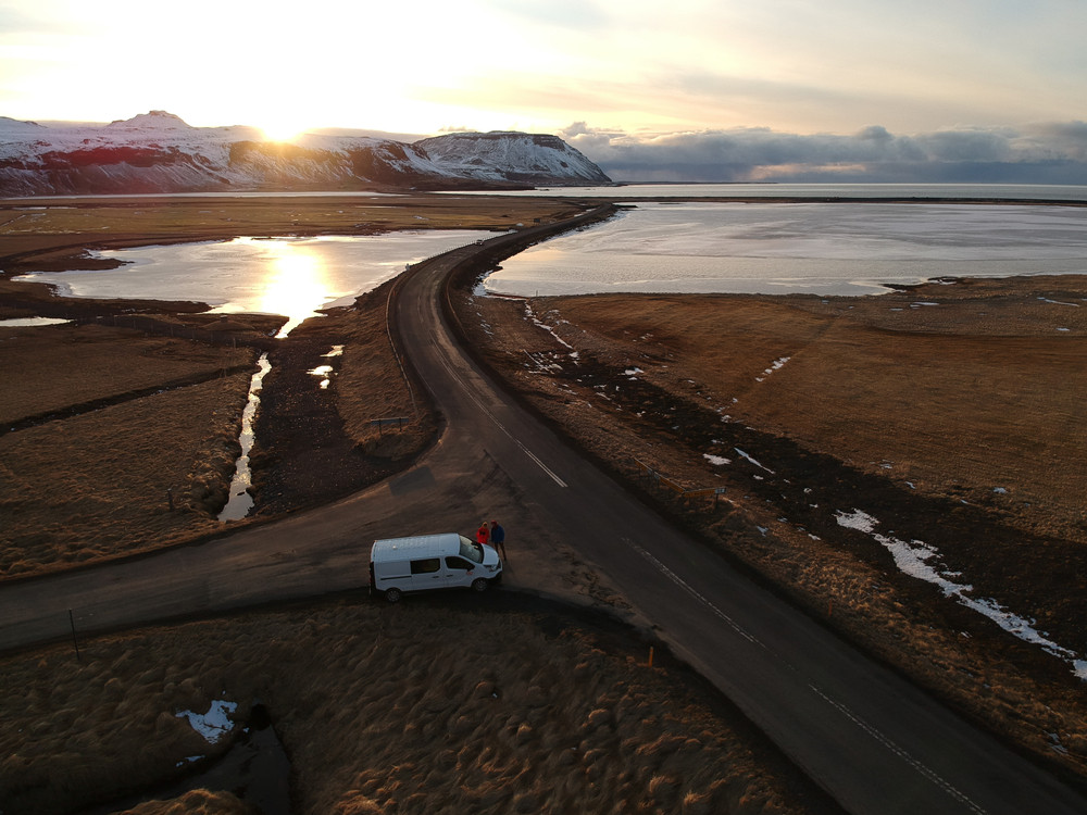 An aerial view on the gravel roads where you need a 4x4 in Iceland