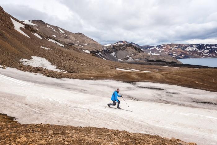 A tourist skiing in the Dyngjufjoll mountain range