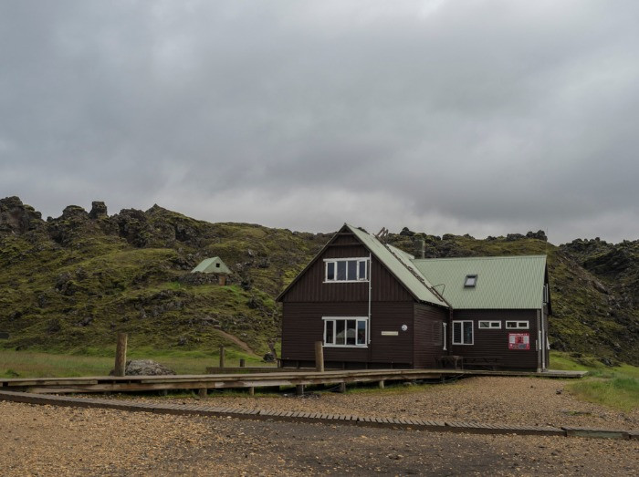 A wooden Landmannalaugar hut right at the star of the Laugavegur trail