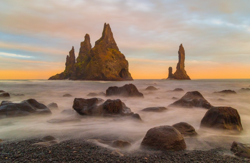 Reynisdrangar is said to be a troll changed in stone in Icelandic folktales