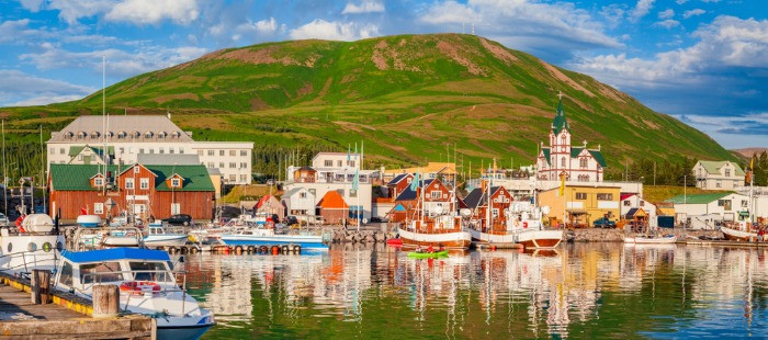 The view on the port in the village of Husavik