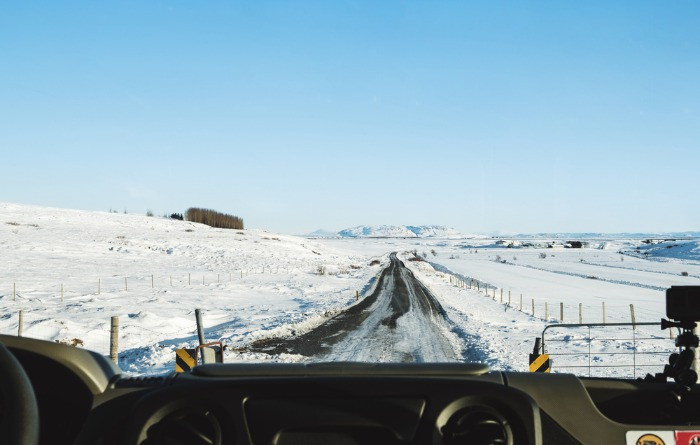 Driving conditions in Iceland might be quite difficult due to snow and ice
