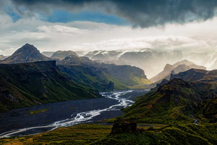 Dramatic view on the Thorsmork valley from on of the most popular hiking trail in Landmannalaugar