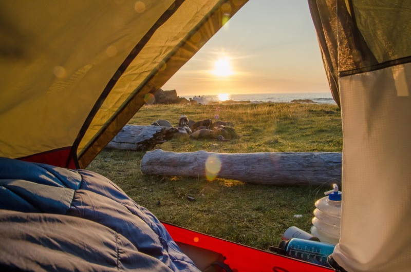 A view from an open tent during camping in Iceland trip