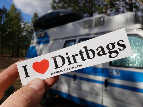 I Heart Dirtbags Sticker