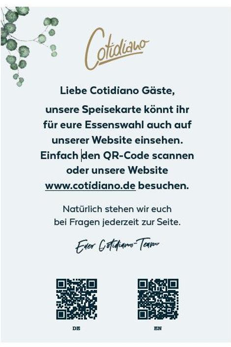 Flyer: QR Code Hinweis für die Online-Speisekarte