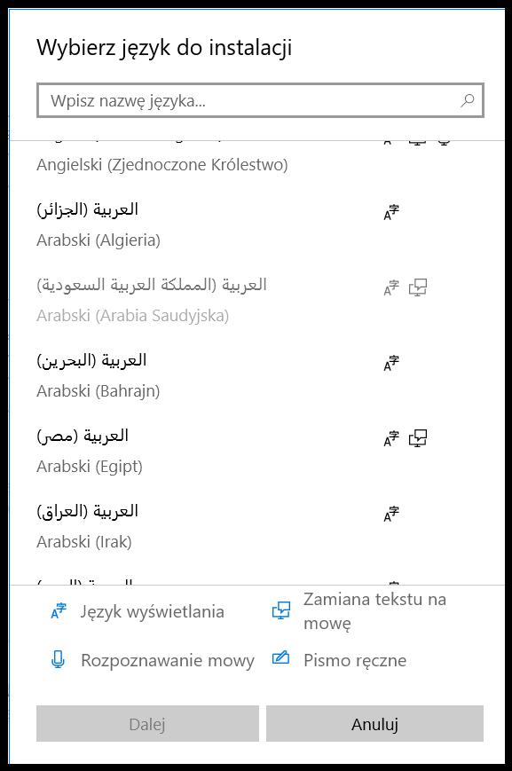 Język arabski - instalacja