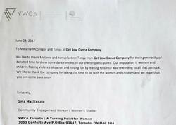 YMCA Letter Of Appreciation