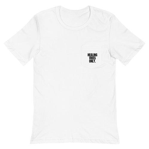 """Healing Vibes Only. "" Unisex Pocket T-Shirt | Bella + Canvas 3021"