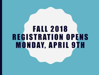 Registration is now OPEN for Summer and Fall