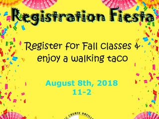 Registration Fiesta! August 8th