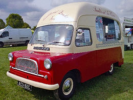 red and cream Carnival ices Vintage Ice Cream Van Hire