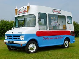 red white and blue vintage ice cream van 70s carnival ices