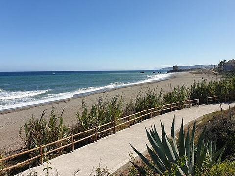 Casares beach and walkway front of Casitamar