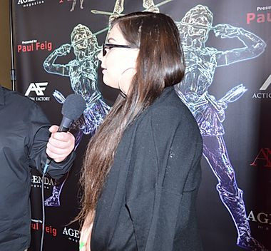 elizmi being interview at the awards in