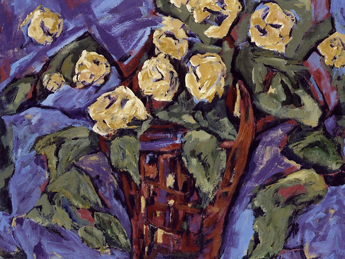 Basket of Yellow Roses- SOLD -giclee prints only