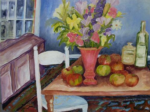 Original -Still Life w/Gold Trimmed Ruby Vase