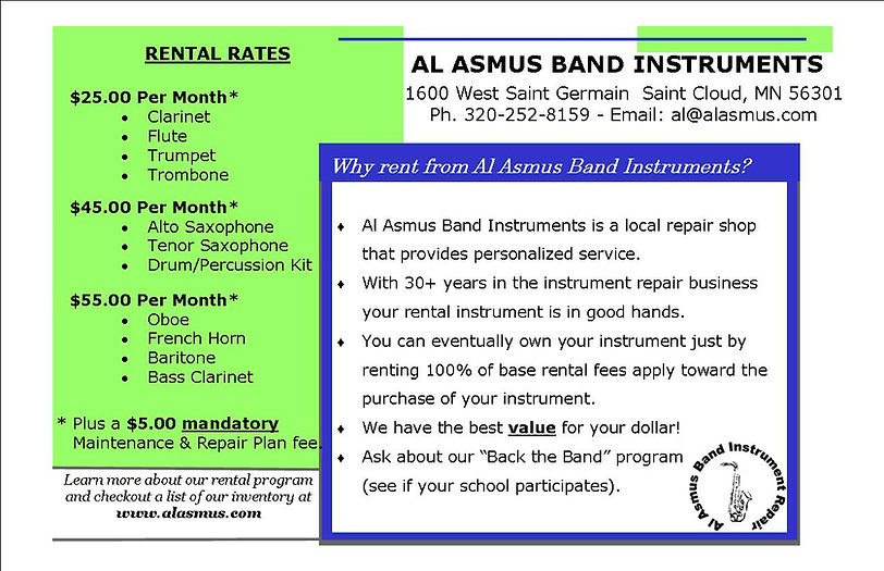 Al Asmus Band Instrument Rental Instrument Rate Card