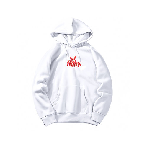 filthy. Red on White BunnyPullover Hoodie