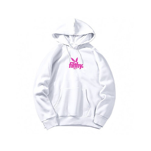 filthy. Pink on White Bunny Pullover Hoodie