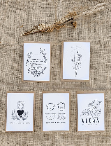 Vegan greeting cards set of 5