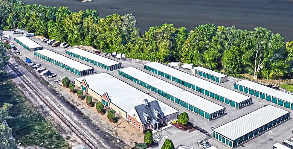 Aerial view of storage units.