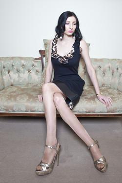 Leopard Ruffle dress in Black