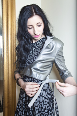 Leather Ballet Jacket in Silver
