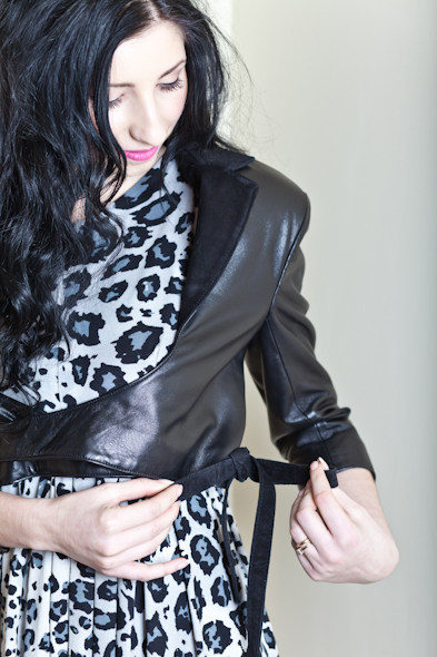Leather Ballet jacket in Black