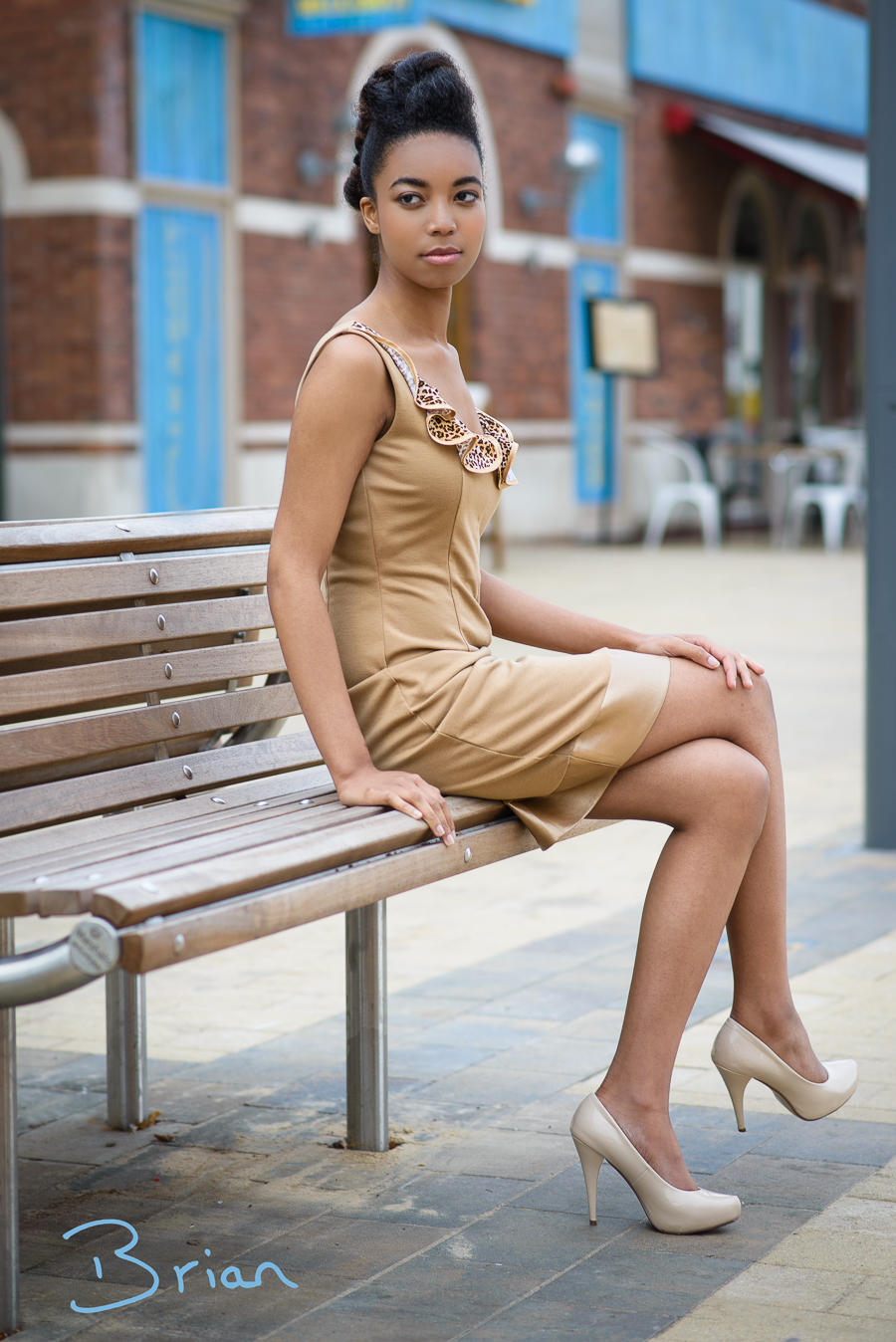 Ruffle dress in camel