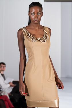 Leopard ruffle dress in camel