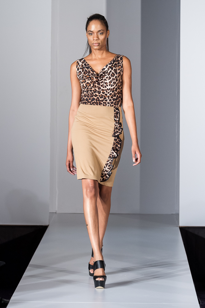 Camel leopard ruffle pencil skirt