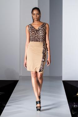 Camel leopard ruffle pencil skirt