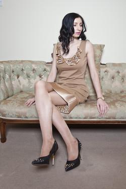 Leopard Ruffle Dress - Camel
