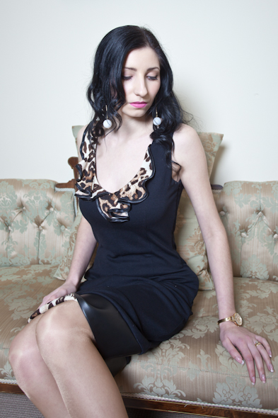Leopard Ruffle Dress - Noir