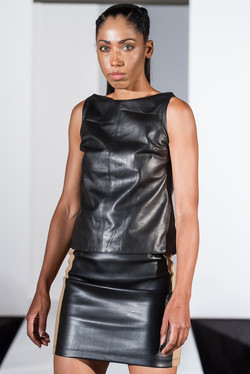 Black slash neck leather top
