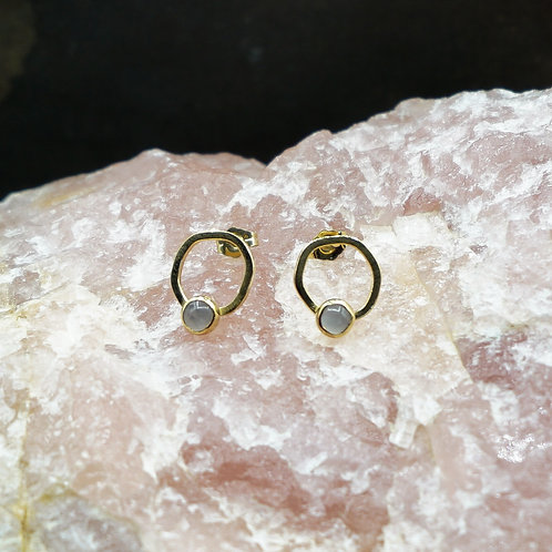 Emily Studs with Rose Quartz in 14k Vermeil