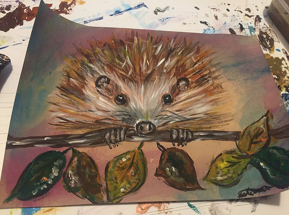 holdenstudios painting, hedgehog painting by holdenstudios in brighton east sussex, brighton artist, artist in brighton east sussex