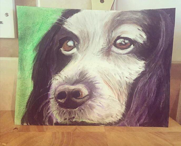 doggy painting in brighton, painter in east sussex, holdenstudios, pet painting in brighton east sussex, dog art work