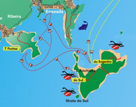 Mapa das Praias e Passeios