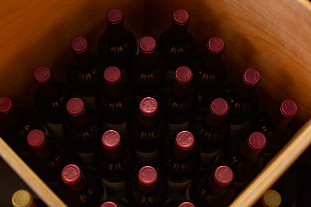 Wine bottles in wine rack display
