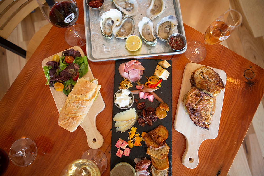 An assortment of Virginia meats, cheeses and oysters
