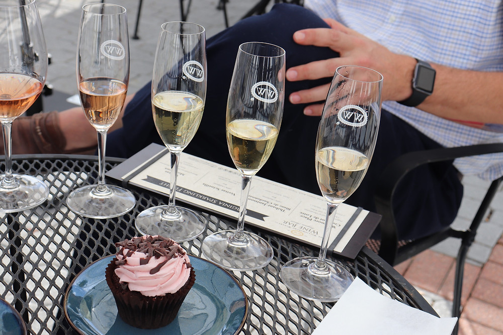 Williamsburg Winery flight paired with a Twisted Sisters cupcake