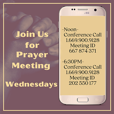 Prayer Meeting via Conference Call Wedne