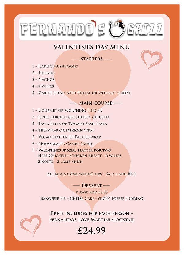 Valentine's Day Menu Fernando's Grill.jp